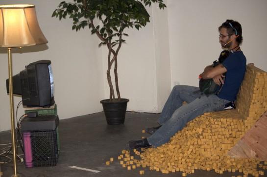 Remnants from Vav Vavrek's, Eraser Love Seat (2012) erasers, wood, time
