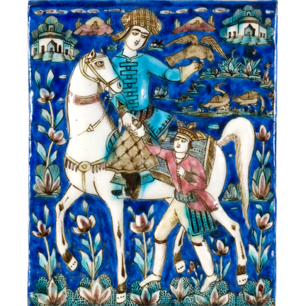 Ceramic Tile depicting Horseman with a Falcon, 18th century, Teheran, Persia