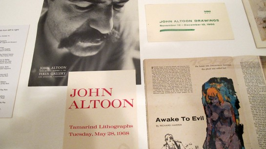 A display of ephemera related to Los Angeles artist John Altoon