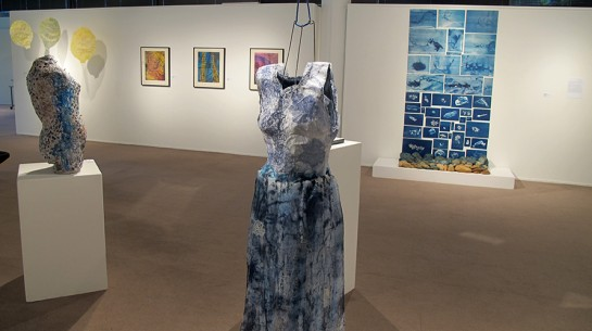 Sculptural works by Poli Marichal and Cathy Weiss hang at Brea Gallery with an installation by Michelle Rozic